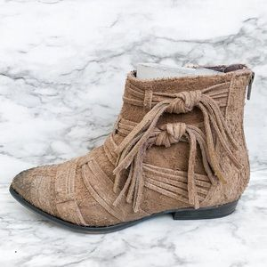 Free People Decades Taupe Distressed Ankle Booties